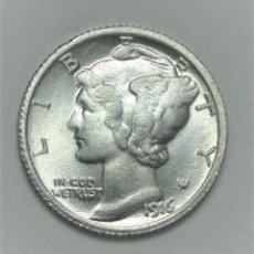 Reproducciones billetes y monedas: ¡¡¡ MUY RARO 1 MERCURY DIME USA DE 1916 D REPLICA (R) !!!. Lote 117091987
