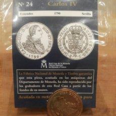 Reproducciones billetes y monedas: DEL REAL A LA PESETA N°24. 8 ESCUDOS, CARLOS IV, 1790 SEVILLA, , FNMT. REPRODUCCIÓN BAÑADA EN ORO.. Lote 114660824