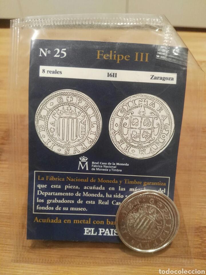 DEL REAL A LA PESETA, N°25. 8 REALES, 1611, FELIPE III ZARAGOZA, FNMT. REPRODUCCIÓN BAÑADA EN PLATA. (Numismática - Reproducciones)