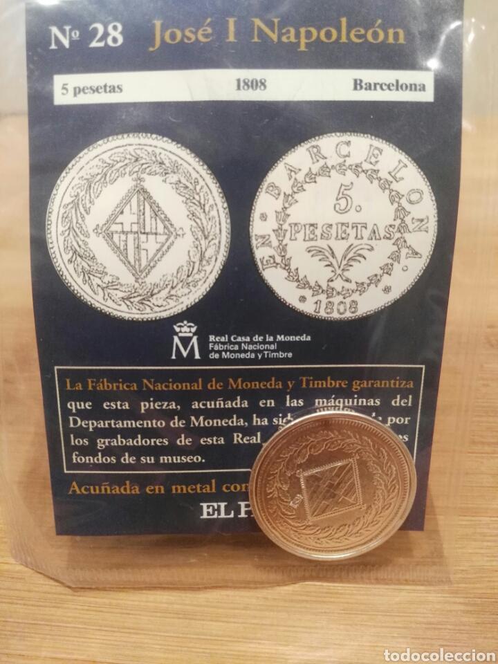 DEL REAL A LA PESETA, N°28. 5 PESETAS, 1808, BARCELONA, JOSÉ I NAPOLEÓN, FNMT. BAÑADA EN PLATA (Numismática - Reproducciones)