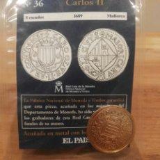 Reproducciones billetes y monedas: DEL REAL A LA PESETA, N°36. 8 ESCUDOS, 1689, MALLORCA, CARLOS II, FNMT. REPRODUCCIÓN BAÑADA EN ORO.. Lote 114664222
