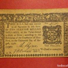 Reproducciones billetes y monedas: ANTIGUO BILLETE AMERICANO AÑO 1776 - TEN SPANISH MILLED DOLLARS - COPY - REPRODUCCIÓN. Lote 117488031