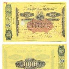 Reproductions billets et monnaies: REPRODUCCION BILLETE. BANCO DE CADIZ 1000 REALES DE VELLON. - BILL-484. Lote 118938259