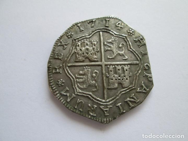 Reproducciones billetes y monedas: BONITA COPIA DE 8 REALES DE FELIPE V * PLATA * - Foto 2 - 122282479