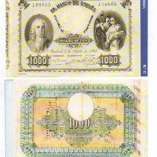 Reproducciones billetes y monedas: REPRODUCCION BILLETE. EL BANCO DE ESPAÑA. 1000 PESETAS JULIO 1884. Nº 16. - BILL-573,2. Lote 140479553