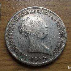 Reproducciones billetes y monedas: 20 REALES DE 1855. REPRODUCCIÓN EN PLATA. Lote 121785387