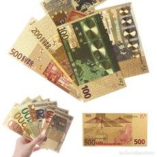 Reproducciones billetes y monedas: LOTE BILLETES ORO EUROS 99,9% PURE GOLD 24K - SERIE COMPLETA. Lote 123421104
