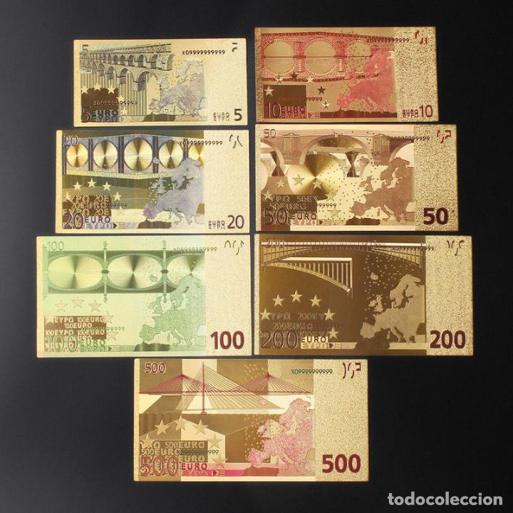 Reproducciones billetes y monedas: LOTE BILLETES ORO EUROS 99,9% PURE GOLD 24K - serie completa - Foto 2 - 123421104