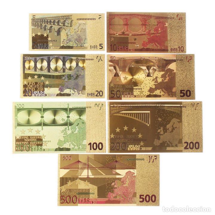 Reproducciones billetes y monedas: LOTE BILLETES ORO EUROS 99,9% PURE GOLD 24K - serie completa - Foto 3 - 123421104