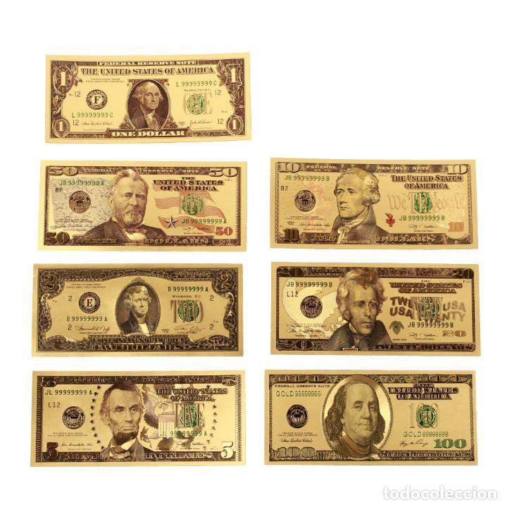 Reproducciones billetes y monedas: LOTE BILLETES ORO DOLAR 99,9% PURE GOLD 24K - Serie completa - Foto 2 - 123421311