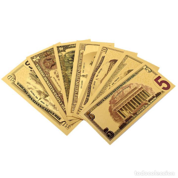 Reproducciones billetes y monedas: LOTE BILLETES ORO DOLAR 99,9% PURE GOLD 24K - Serie completa - Foto 3 - 123421311