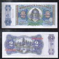 Reproducciones billetes y monedas: REPRODUCCION BILLETE. EL BANCO DE ESPAÑA. 2 PESETAS EMISION 1938. - BILL-664. Lote 122128615