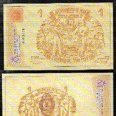 Reproducciones billetes y monedas: REPRODUCCION BILLETE. AYUNTAMIENTO DE MURCIA, 1 PESETA. REPUBLICA ESPAÑOLA. 1937. - . Lote 122819879