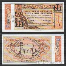 Reproducciones billetes y monedas: REPRODUCCION BILLETE. AJUNTAMENT D LLEIDA. 25 CENTIMOS REPUBLICA ESPAÑOLA JUNIO 1937.. Lote 122916883