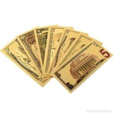 Reproducciones billetes y monedas: COLECCION 7 BILLETES DÓLARES A COLOR 99.9% PURE ORO 24 KT. - EXCELENTE CONDICIÓNES. Lote 122958711