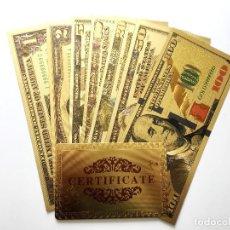 Reproducciones billetes y monedas: LOTE 7 BILLETES ORO DOLAR 99,9% PURE GOLD 24K - CON CERTIFICADO DE ORIGINALIDAD. Lote 123121523