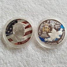 Reproducciones billetes y monedas: DOS SILVER PLATED - DONALD TRUMP PRESIDENT EEUU Y CANADA ONE OUNCE . Lote 124277295