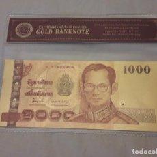 Reproducciones billetes y monedas: BILLETE ORO 24K 1000 BATH THAILANDIA CON CERTIFICADO. Lote 125207695