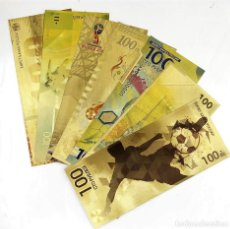 Reproducciones billetes y monedas: MUNDIAL 2018 RUSSIA 99.9% PURE ORO 24K. COLECCION 7 BILLETES 100 RUBLOS A COLOR NUEVOS. Lote 128600048