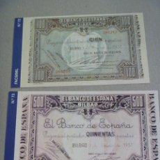 Reproducciones billetes y monedas: HISTORIA DE LA PESETA : LOTE DE 2 FACSIMILES DE BILLETES DE PESETA. BILBAO , REPUBLICA. Lote 143650462