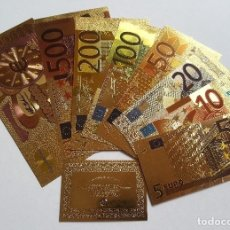 Reproducciones billetes y monedas: 8 BILLETES EUROS A COLOR 99.9% PURE ORO 24K CON CERTIFICADO AUTENTICIDAD Y 2 BILLETES DE REGALO!!!!. Lote 147773468