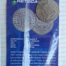 Reproducciones billetes y monedas: REPRODUCCIÓN MONEDA 1 PESETAS ISABEL II EN PLATA. COLECCIÓN NORTE DE CASTILLA . Lote 157120832