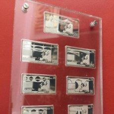 Reproducciones billetes y monedas: COLECCION DE 7 BILLETES DE PLATA , EUROS EN EXPOSITOR DE METACRILATO , MINIATURAS. Lote 127112691