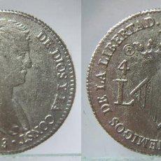 Reproducciones billetes y monedas: REPRODUCCION DE UNA MONEDA DE FERNANDO VII 4 REALES 1823 DE VALENCIA . Lote 128500107