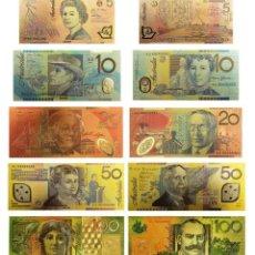 Reproducciones billetes y monedas: COLECCION DE 5 BILLETES 99.9% ORO PURO DE 24 KILATES CON CERTIFICADO DE ORIGINALIDAD. Lote 147771673