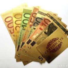 Reproducciones billetes y monedas: COLECCION DE 7 BILLETES DE EUROS A COLOR 99.9% PURE ORO 24 KILATES CON CERTIFICADO AUTENTICIDAD. Lote 129601423