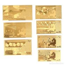 Reproducciones billetes y monedas: COLECCIÓN DE 7 BILLETES DE EUROS 99.9% PURE ORO 24 KILATES CON CERTIFICADO DE AUTENTICIDAD NUEVOS. Lote 147771308