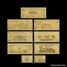 Reproducciones billetes y monedas: COLECCION 7 BILLETES DE DOLAR 99.9% ORO PURE 24 KLTS CON CERTIFICADO DE AUTENTICIDAD, NUEVOS. Lote 147773004