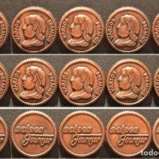 Reproducciones billetes y monedas: LOTE 10 MONEDAS NAIPES FOURNIER PREMIOS VARIOS CARTAS MONEDA EN BRONCE. Lote 131080824