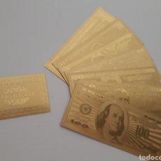 Reproducciones billetes y monedas: COLECCION DE 7 BILLETES DE DÓLAR 99.9% PURE ORO 24 K CON CERTIFICADO DE AUTENTICIDAD NUEVOS. Lote 147771584