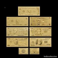 Reproducciones billetes y monedas: COLECCION 7 BILLETES DE DOLAR 99.9% ORO PURO 24 KLTS CON CERTIFICADO DE AUTENTICIDAD. Lote 140717314