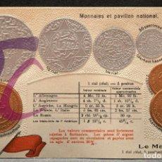 Reproducciones billetes y monedas: POSTAL MONEDAS DE TODOS LOS PAISES 1920 MARRUECOS CARTA POSTAL MONEDA GOFRADA. Lote 132171042