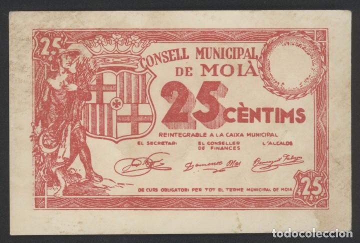 J.B. BILLETE LOCAL MOIÀ , 25 CÉNTIMOS (Numismática - Reproducciones)