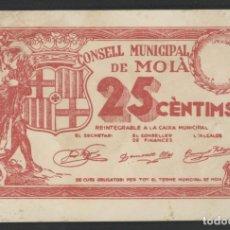 Reproducciones billetes y monedas: J.B. BILLETE LOCAL MOIÀ , 25 CÉNTIMOS. Lote 132208554