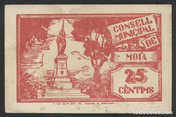 Reproducciones billetes y monedas: J.B. BILLETE LOCAL MOIÀ , 25 CÉNTIMOS - Foto 2 - 132208554