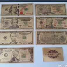 Reproducciones billetes y monedas: COLECCIÓN DE 7 BILLETES DE DÓLAR A COLOR 99.9% PURO ORO 24 K CON CERTIFICADO DE AUTENTICIDAD. Lote 143090177