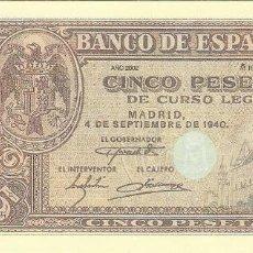 Reproduções notas e moedas: BILLETE 5 PESETAS 1940 REPRODUCCION OFICIAL FNMT - ALCAZAR DE SEGOVIA. Lote 133467190