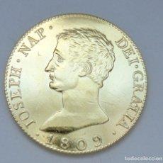 Reproducciones billetes y monedas: ¡¡¡ 20 REALES DE JOSE NAPOLEON DE 1809 BAÑADA EN ORO PURO DE 24 KILATES REPLICA (R) !!! . Lote 133921218