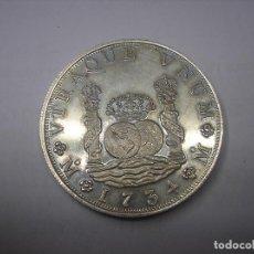 Reproducciones billetes y monedas: ONZA DE PLATA, REPRODUCCIÓN DE 8 REALES COLUMNARIO DE 1734.REY FELIPE V.. Lote 135298542