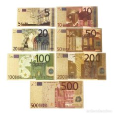 Reproducciones billetes y monedas: COLECCION 7 BILLETES EUROS A COLOR 99.9% PURE ORO 24 KT. - EXCELENTE CONDICIÓNES. Lote 135437206