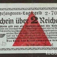 Reproducciones billetes y monedas: ALEMANIA. III REICH. 2 REICHMARK (1939). EMITIDO POR WEHRMACHT.. Lote 135895025