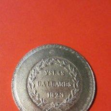 Reproducciones billetes y monedas: MONEDA FERN 7º 5P. YSLAS BALEARES 1823. REPLICA. MALLORCA .. Lote 136694838