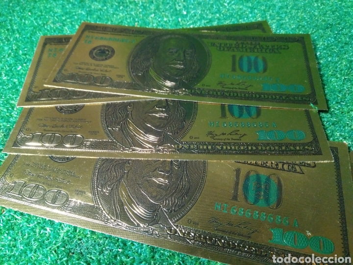 Reproducciones billetes y monedas: LOTE DE 4 BILLETES DORADOS DE 100 DÓLARES ESTADOS UNIDOS - Foto 2 - 137149877