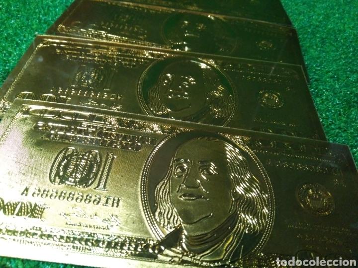 Reproducciones billetes y monedas: LOTE DE 4 BILLETES DORADOS DE 100 DÓLARES ESTADOS UNIDOS - Foto 3 - 137149877