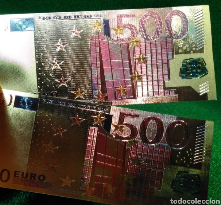 LOTE DE 2 BILLETES DORADOS 500€ (Numismática - Reproducciones)
