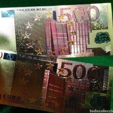 Reproducciones billetes y monedas: LOTE DE 2 BILLETES DORADOS 500€. Lote 137151237
